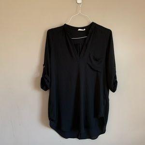 EUC Lush size small Black tunic 3/4 sleeves v neck